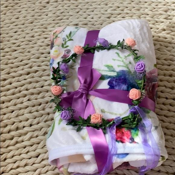 Baby Milestone Blanket Purple Flower